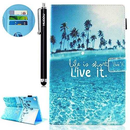 HUDDU Urlaub Muster Blau Schutzhülle für Das neue Amazon Fire HD 10,1 Zoll HD 10 Tablet (7th Gen.- 2017 Modell) Hülle Flip Tasche Leder Smart Case Lightweight Cover mit Auto Schlaf/Wach Funktion