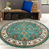#8: Carpets For Living Room Green & Ivory 6 x 6 Feet Round Carpet Traditional Persian Bordered