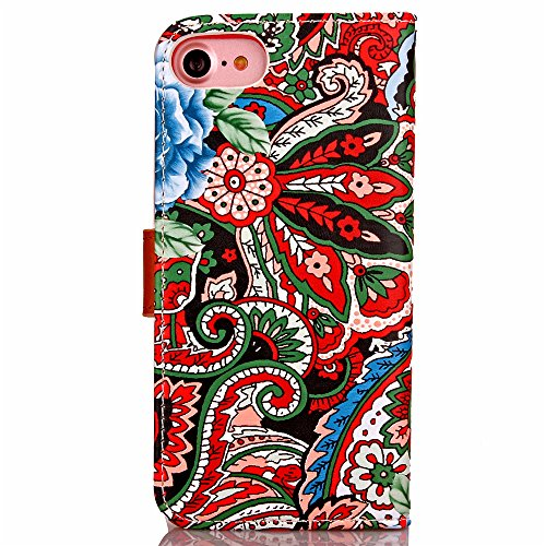 iPhone 7 Coque Glitter,iPhone 7 Coque Souple,iPhone 7 Coque Cuir,iPhone 7 Coque Fleur Etui,iPhone 7 Leather Case Wallet Flip Protective Cover Protector,iPhone 7 Coque Portefeuille PU Cuir Etui,EMAXELE Flower 5