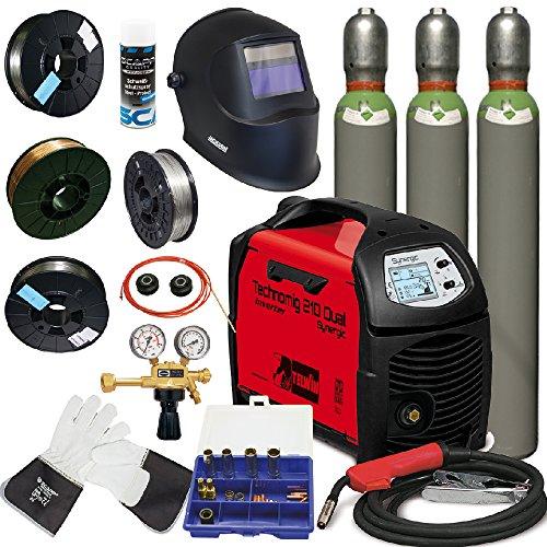 TELWIN MIG/MAG Schweißgerät TECHNOMIG 210 DUAL Synergic im SET 3, inkl. SCAPP Schweißdraht, SCAPP Schweißerhandschuhe, Verschleißteileset, Gasflaschen, Jackson Schweißhelm, usw. (816052)