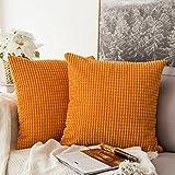 MIULEE Cord Weiches Massiv Dekorativen Quadratisch Überwurf Kissenbezüge Kissen für Sofa Schlafzimmer Auto 18'x18', 45x 45cm Granule Orange