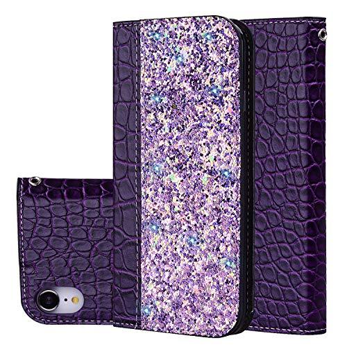 Slynmax iPhone XR Coque de téléphone Flip Cuir Portefeuille magnétique solide automatique Ventouse brillant Crocodile violet clair