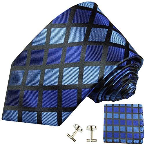 Cravate homme à carreaux bleu ensemble de cravate 3 Pièces ( longueur 165cm )