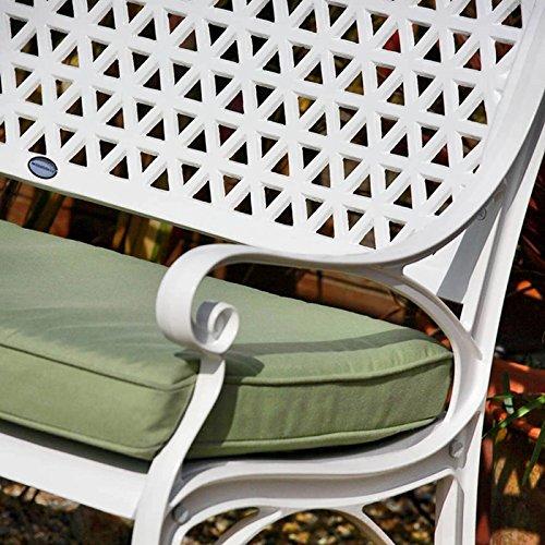 Lazy Susan – JULY Gartenbank und SANDRA Quadratischer Kaffeetisch – Gartenmöbel Set aus Metall, Weiß (Grünes Kissen) - 3