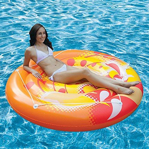 71, Orange, jaune et blanc-Calypso Island gonflable de piscine gonflable avec pourtour en corde