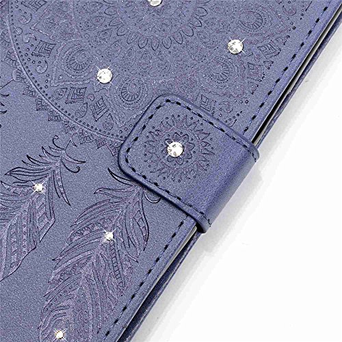 Nancen Apple iphone 5 / 5S / SE (4,0 pouces) Coque de protection Luxe Portefeuille Retro PU Cuir Flip Case Strass Cover [motif de campanula] Bling Diamant Pure Couleur Bookstyle Etui Housse en Cuir av pourpre