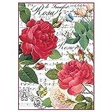 Reispapier A4 - Red rose and music. Motiv-Strohseide, Strohseidenpapier, Decoupage Papier