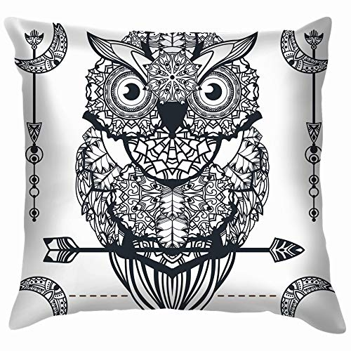 e Owl Arrow Zentangle Art Animals Wildlife Funny Square Throw Pillow Cases Cushion Cover for Bedroom Living Room Decorative 18X18 Inch ()