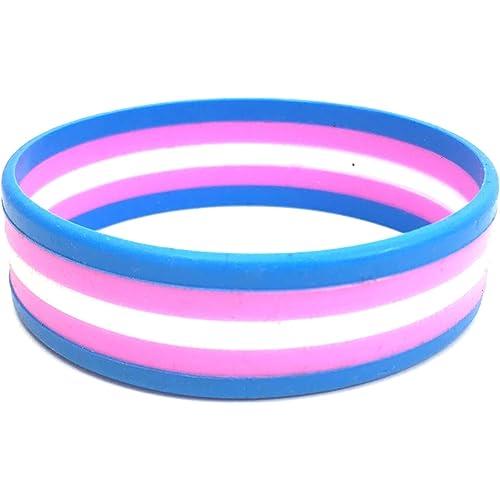 Bracciale transgender. Braccialetto in silicone a strisce arcobaleno per la consapevolezza LGBT di Butler & Grace.