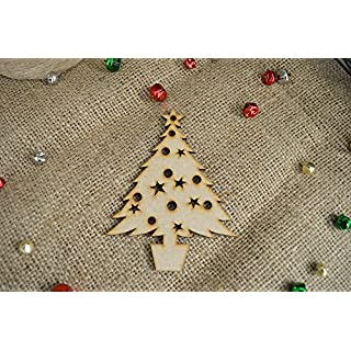 20 pack 40mm 'Hanging Classic Christmas Tree Shape' Craft Shape, Craft Embellishments, Made from Medite Premier MDF