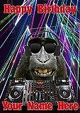 Funny Ape Affe j553Clubbing Cool DJ Fun Cute Happy Birthday A5personalisierbar Grußkarte geschrieben von uns Geschenke für alle 2016von Derbyshire UK