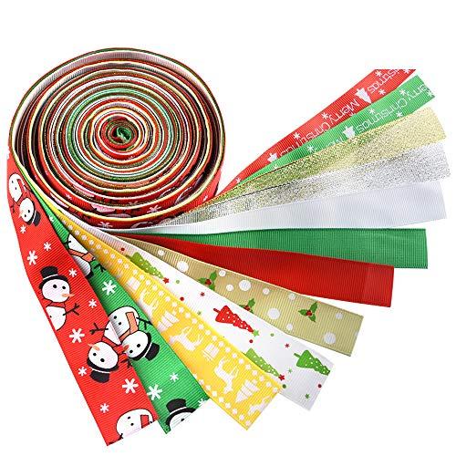 KUUQA 12 Stück Weihnachten Ribbons Grosgrain Satin Stoff Ribbon Set für Weihnachtsschmuck, Geschenkpapier, Hair Bows machen, Handwerk Nähen oder Hochzeitsdekorationen -