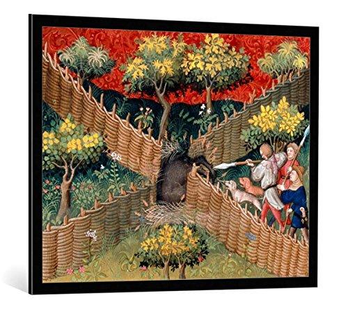 Kunst für Alle Cuadro con marco: Pariser Werkstatt Buchmalerei Wildschweinjagd m. Falle/Livre de Chasse - Impresión artística decorativa con marco de alta calidad, 100x80 cm, Negro/canto gris