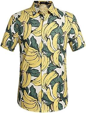 SSLR Uomo Camicie da Button Down Casual Manica Corta Stile Hawaiana Banana