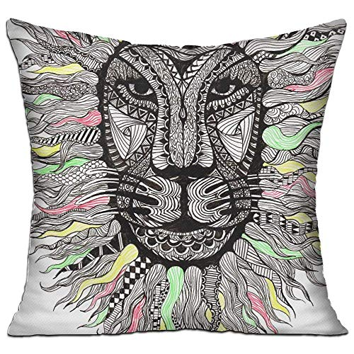 Nacasu King Lion Awesome Colors Art Pillow Covers Durable for Sofa Bedroom Car - Inserts Are Not Included - 18