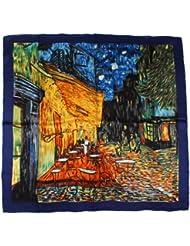 """Nella-Mode SEIDENTUCH Seidenschal nach van Gogh: """"Nachtcafé"""" Schal Tuch 100% Seide Kunstdruck 85x85 cm"""