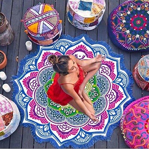 Magnífica Mandala Tela playa ICOCO Tapiz redonda de algodón de colores bonito suave como tapete, mantel de mesa, para decoracion de baño, sofa, hogar - azúl, 147 x 147cm