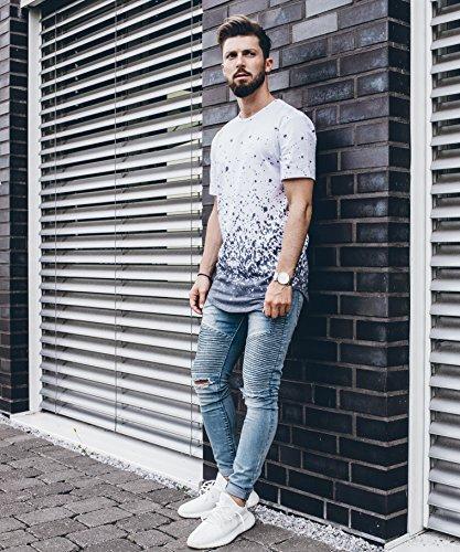 Phoenix Allstar Oversize T-Shirt Herren Longshirt mit 09 Print Longline Tee Langes Stylisches Shirt - S M L XL Ink Splash