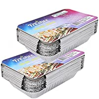 Freshee Pack of 2 x 25 pcs Aluminium Silver Foil Container 750ml| 100% Recyclable Food Storage Disposable Containers with Lid For Kitchen | Bacteria Resistant