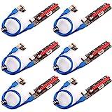 PCIe Riser, Ubit 3 i 1 1x till 16 st. Pcie Riser Board med LED-lampa, skräddarsydd 60 cm USB 3.0-kabel, 3 strömval (6 stift/S