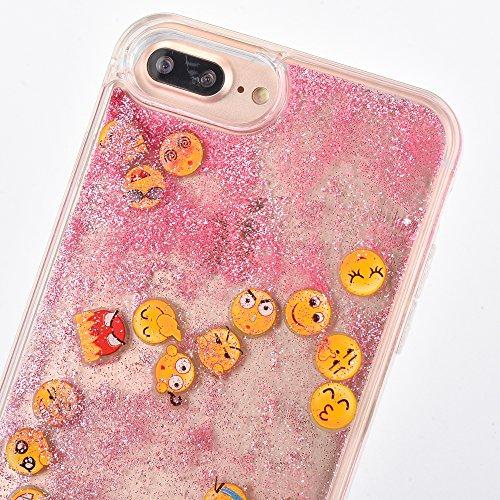 Voguecase Für Apple iPhone 7 4.7 Hülle, Flüssig Fließende Sparkly Bling Glitzer Treibsand Quicksand (Harte Rückseite) Hybrid Hybrid Hülle Soft Edge Schutzhülle Case Cover (Glühen/Treibsand/QQ Ausdruck Glühen/Treibsand/QQ Ausdruck 01/Pink