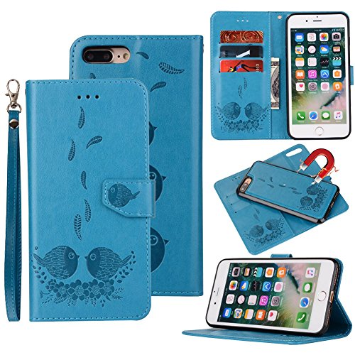 iPhone 5S/5/SE Wallet Case, Magnetic Detachable Bird pattern Premium PU Leather Flip Cover 2in1 Removable SOUNDMAE Protective Folio Wallet With Card Slot Cash Pocket and Hand Strap [Brown] Z-Blue