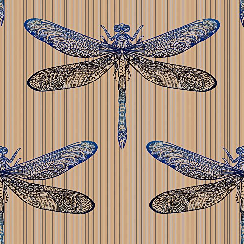 murando - Vlies Tapete - Deko Panel Fototapete - Wandtapete - Wand Deko - 10 m Tapetenrolle - Mustertapete - Wandtapete - modern design - Dekoration - Libelle Insekt f-A-0129-j-d