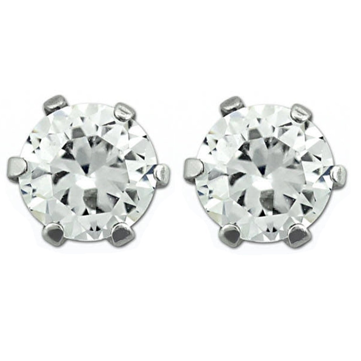 Round Cubic Zirconia Stone Stud Earrings – 6mm Stainless Steel, Magnetic