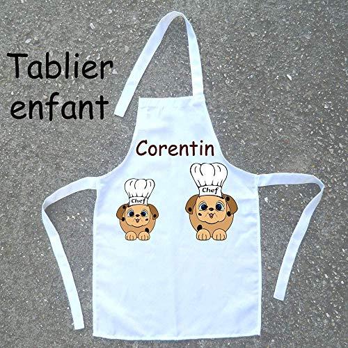 Tablier de cuisine enfant Chien à personnaliser avec un Prénom (ex. Corentin)