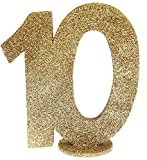 XXL Tischdeko Zahl 10 Geburtstag Gold Glitzer 1 Stück Party-Deko Palandi®