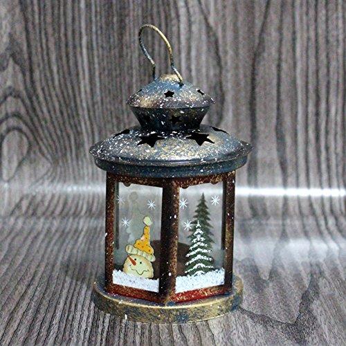 (Weihnachts-kerze,Eisen Weihnachts-geschenk-dekoration Rechteckige gläser Wohnzimmer-tisch-dekoration Santa claus weihnachtsbaum-A 4x6inch)