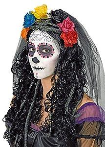 Day of the Dead Haarreif mit Schleier, Blumen und Totenkopf - Schwarz Mehrfarbig - zum Witwen, Hexen, Geist, Zombiebraut oder Gothic Kostüm - Halloween Karneval