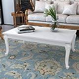 vidaXL Table Basse 115x65x42 cm MDF Blanc Brillant Table d'Appoint de Salon