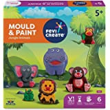 Pidilite Fevicreate Educational Games, DIY Mould & Paint Jungle Animals Craft Kit for Kids, Fun & Learning Activity Games for