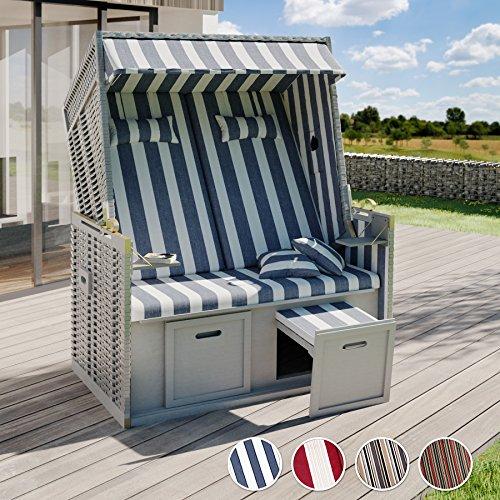 TecTake® Zweisitzer Strandkorb + Premium Schutzhülle + 2 extra Kissen - 2