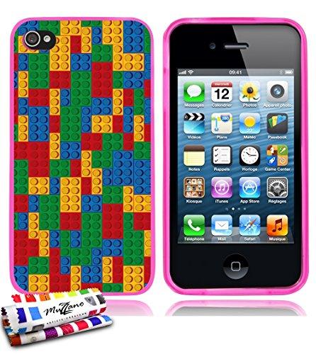 Ultraflache weiche Schutzhülle APPLE IPHONE 4 / IPHONE 4S [Brick mosaic] [Lila] von MUZZANO + STIFT und MICROFASERTUCH MUZZANO® GRATIS - Das ULTIMATIVE, ELEGANTE UND LANGLEBIGE Schutz-Case für Ihr APP Rosa