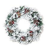Weihnachten Dekorationen Türkranz Weihnachtskranz Klebrige Schnee Tannenzapfen Kiefernnadeln Rote Beeren Pvc Weihnachtsgirlanden Weiß 60cm