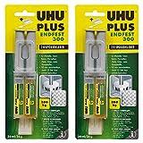 UHU PLUS ENDFEST 300, 2-Komponenten-Epoxidharzkleber, 25 g, Infokarte, 2er-Pack