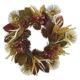 Nearly Natural 4276 68,6 cm Magnolienblatt, Beere, Geweih und Pfauenfedern, künstliche Kränze, Sortiert