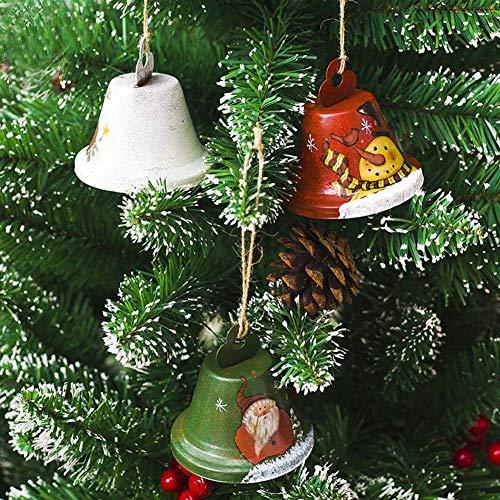 Mdurian Weihnachten 3 stücke Traditionelle Glocke Schneemann Ornament Jingle Bell DIY Handwerk Wandbehang Weihnachtsbaum Urlaub Windows Decor Nette Weihnachtsmann Ornamente