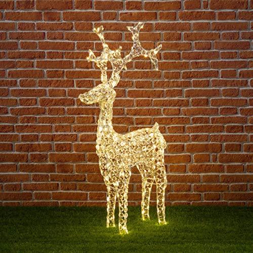 Renna con cristalli h120 cm, 250 led bianco caldo, renne luminose per esterno, decorazioni di natale, luci natalizie, figure luminose