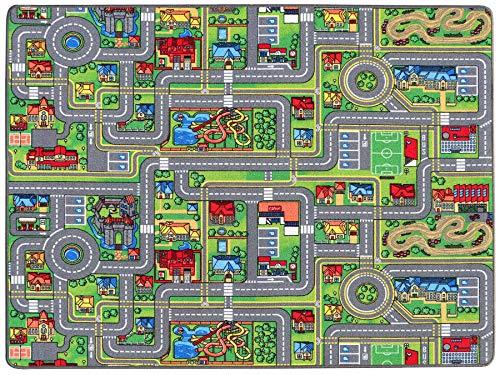Spielteppich Autoteppich Straßenteppich Streets - 140x200 cm, Anti-Schmutz-Schicht, Auto-Spielteppich für Mädchen & Jungen, Kinderteppich Strasse Fußbodenheizung geeignet