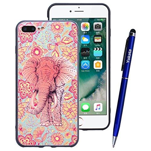 Yokata iPhone 7 Hülle Weiche Silikon Handyhülle 3D Motiv Schutzhülle TPU Handy Tasche Schale Etui Weich Silicone Bumper Ultra Dünn Slim Schlank Matt Handytasche Premium Kratzfest Soft Flexible Clear B Farbe wie