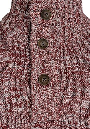 SOLID Philario Herren Strickpullover Troyer aus 100% Baumwolle Meliert Wine Red Melange (8985)