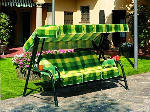 Ideapiu Balancelle de Jardin, Bascule avec imbottituracon revêtement écossais Vert Jaune, balancelle 4 Places, Bascule