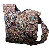 KUNST UND MAGIE Schultertasche Umhängetasche mit bunten Psy Mustern, Farbe:Braun