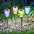 Lot de 4 Lampes LED Solaires Multicolores � Pois avec Piquet de Lights4fun