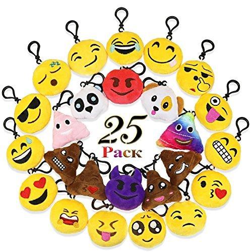 GeMoor Emoji Schlüsselanhänger Plüsch Tasche Anhänger 6cm ( Set von 25 ) (Machen Sie Ihre Eigenen Kostüm Billig)