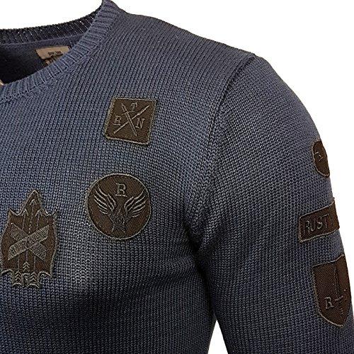 Rusty Neal Herren Strickpullover Pullover Sweatshirt Styler Shirt RN-297 Blau
