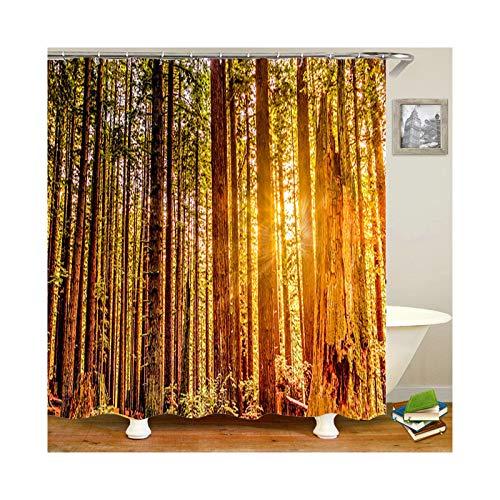 Bishilin Polyester-Stoff 3D Duschvorhang Vintage Wald am Morgen 3D Lustiger Duschvorhang Vintage 150x200
